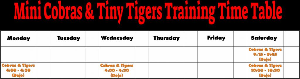Cobras & Tigers Training Timetable 2021