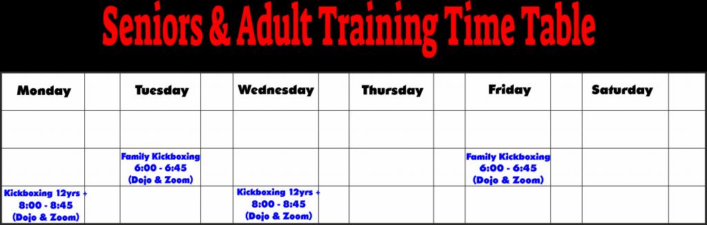 Kickboxing Training Timetable 2021